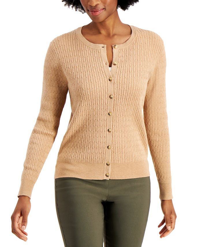 Charter Club - Cable-Knit Button-Up Cardigan