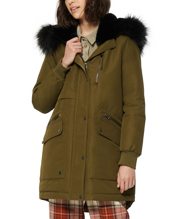 Marc New York - Carina Faux-Fur-Trim Hooded Parka Coat