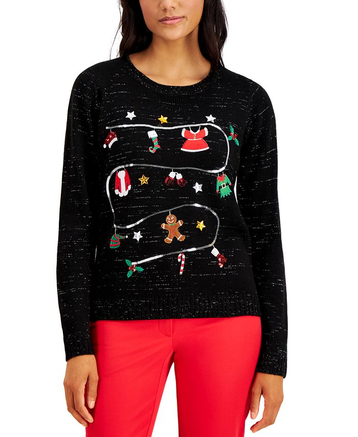 Karen Scott - Sequined Holiday Party Sweater, Created for Macy's