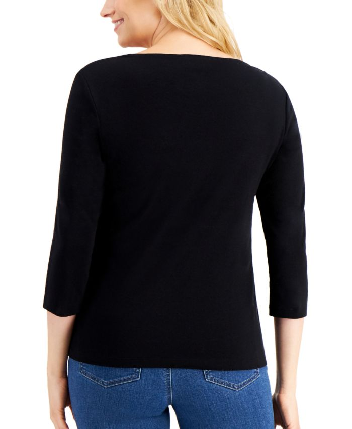 Karen Scott Petite Embroidered Holiday Graphic 3/4-Sleeve Top, Created for Macy's & Reviews - Tops - Petites - Macy's