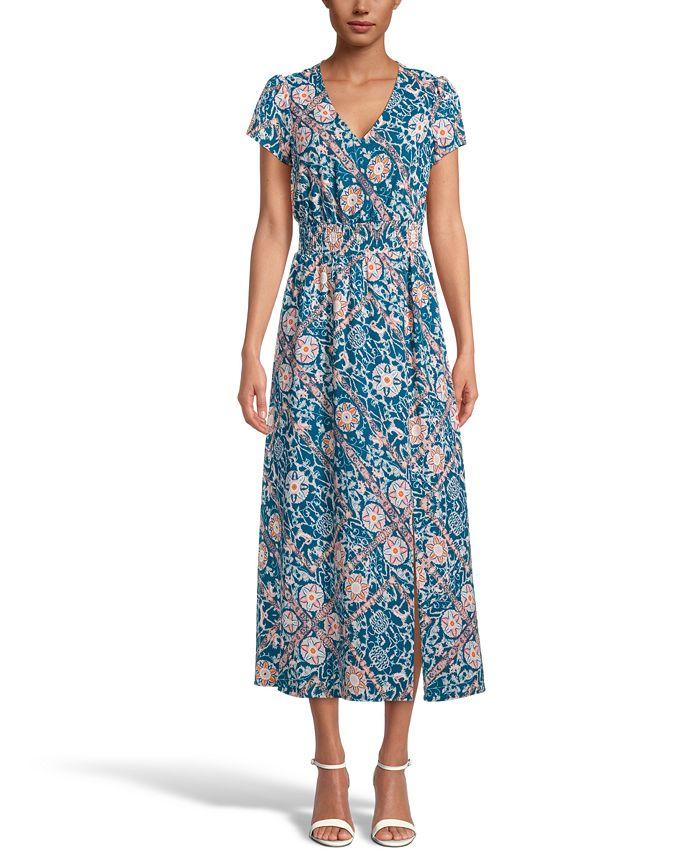 INC International Concepts - Printed Smocked-Waist Maxi Dress