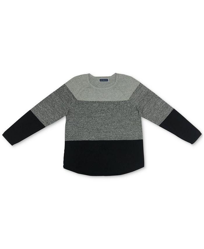 Karen Scott - Jessie Colorblocked Curved-Hem Sweater