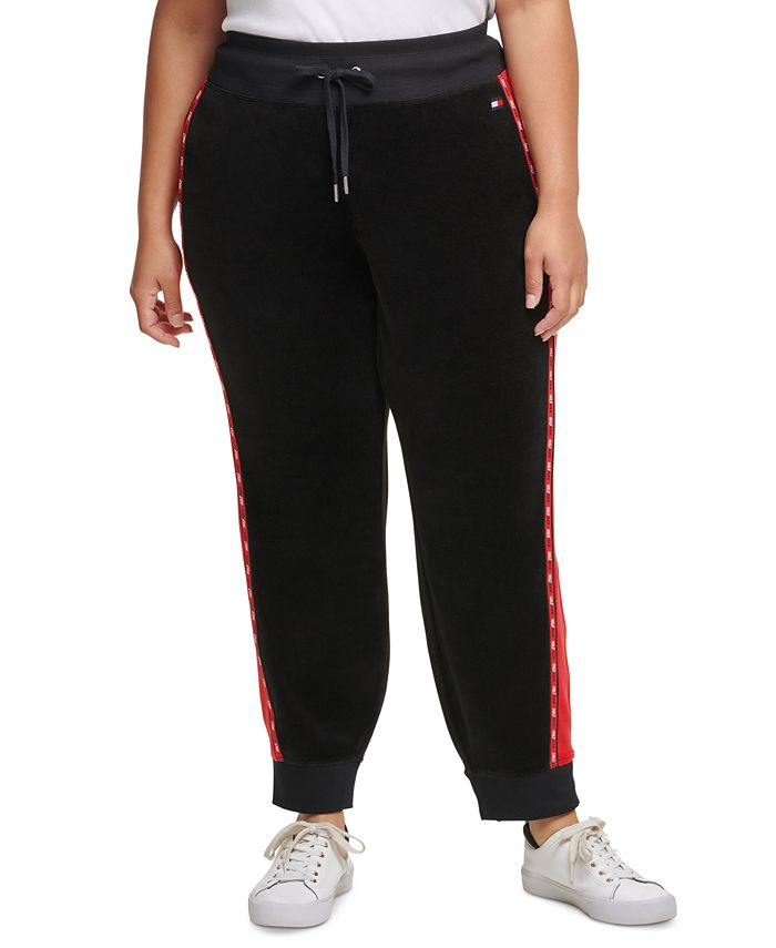 Tommy Hilfiger - Plus Size Colorblocked Velour Jogger Pants With Micro-Tape Trim