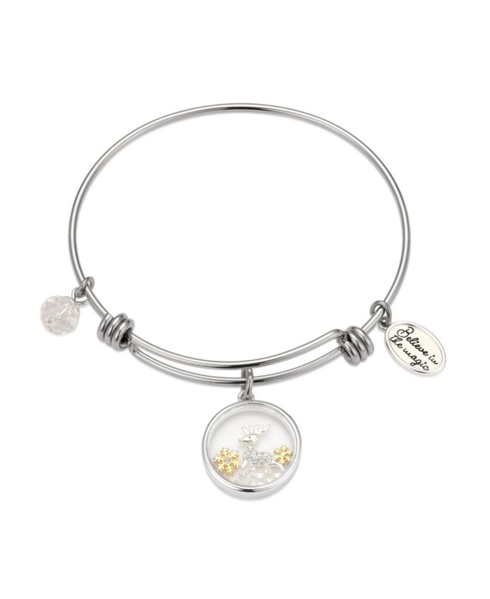 """Unwritten Two-Tone """"Believe In The Magic"""" Reindeer Shaker Adjustable Bangle Bracelet with Silver Plated Charms & Reviews - Bracelets - Jewelry & Watches - Macy's"""