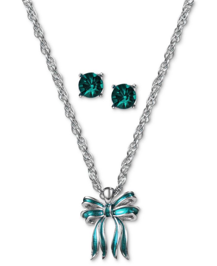 Charter Club Gold-Tone Bow Pendant Necklace & Crystal Stud Earrings Set, Created for Macy's & Reviews - Fashion Jewelry - Jewelry & Watches - Macy's