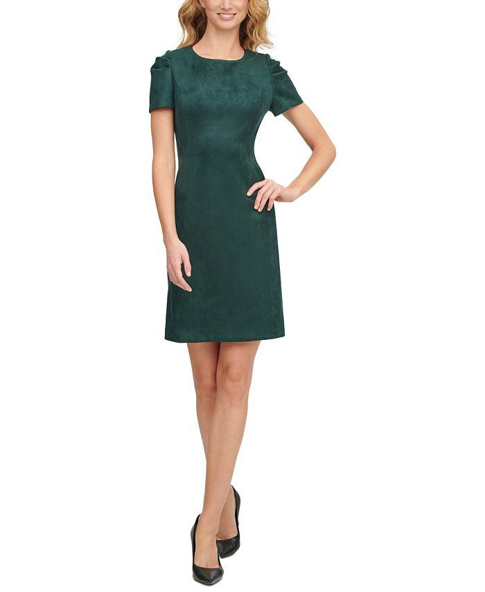 Calvin Klein - Scuba-Crepe Faux-Suede A-Line Dress