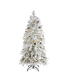 Nearly Natural Flocked Montana Down Swept Spruce Artificial Christmas Tree with 100 Clear LED Lights