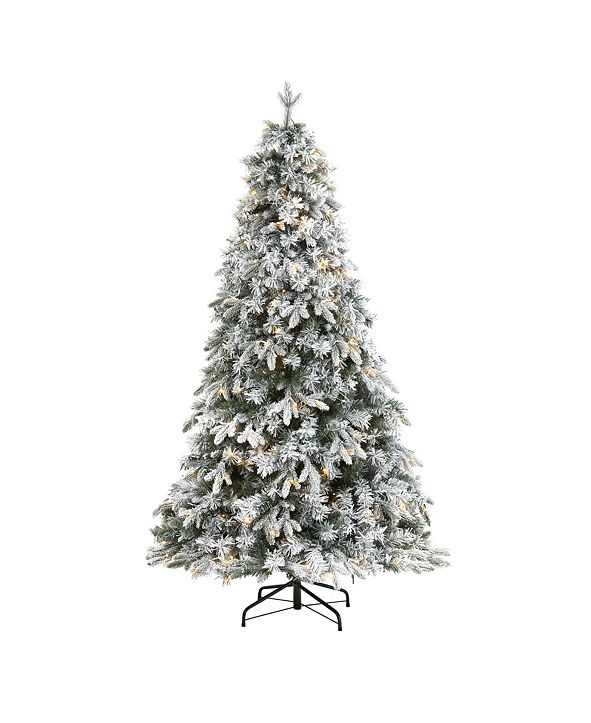 Nearly Natural Flocked Vermont Mixed Pine Artificial Christmas Tree with 150 Clear LED Lights