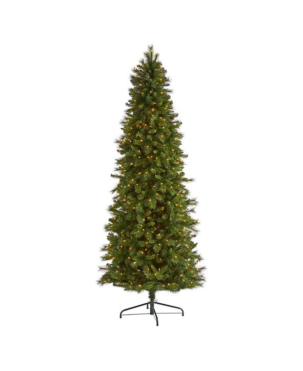 Nearly Natural Slim West Virginia Mountain Pine Artificial Christmas Tree with 600 Clear Lights and 1359 Bendable Branches