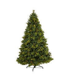 Nearly Natural North Carolina Mixed Pine Artificial Christmas Tree with 470 Warm LED Lights, 1895 Bendable Branches and Pinecones