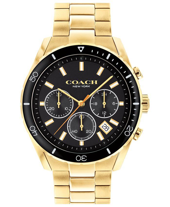 COACH - Men's Preston Chronograph Gold-Tone Bracelet Watch 44mm