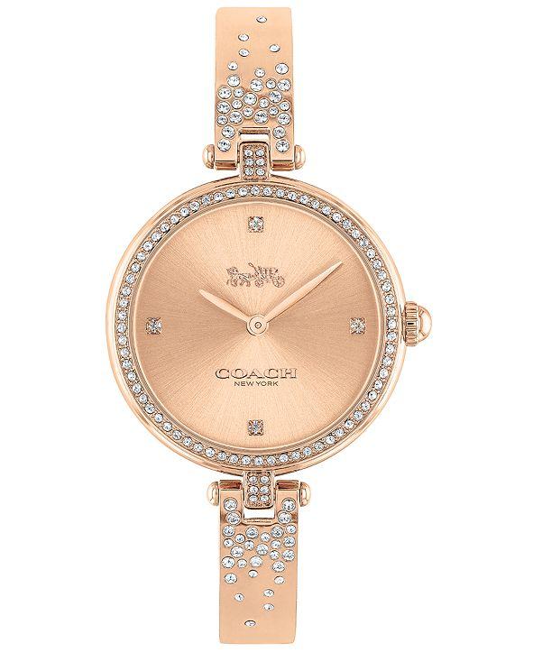 COACH Women's Park Rose Gold-Tone Bangle Bracelet Watch 30mm