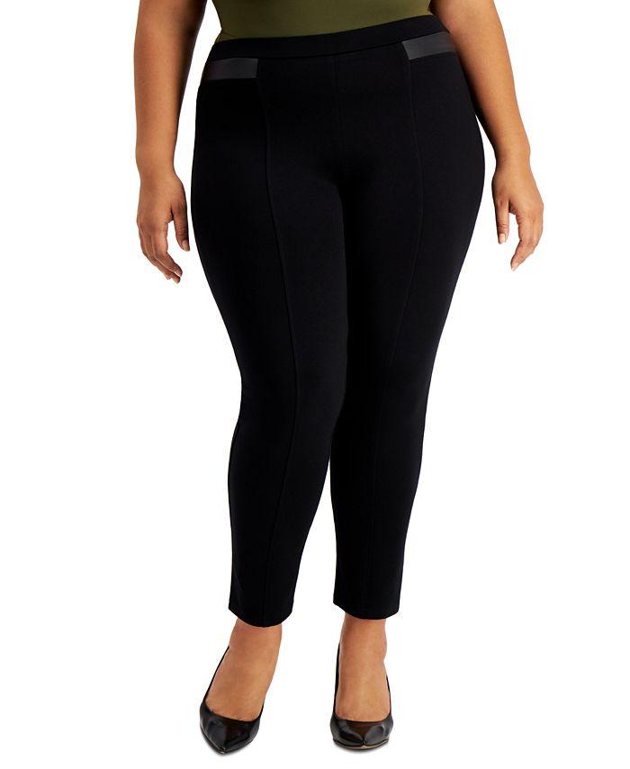 JM Collection - Plus Size Faux-Leather-Trim Pull-On Pants
