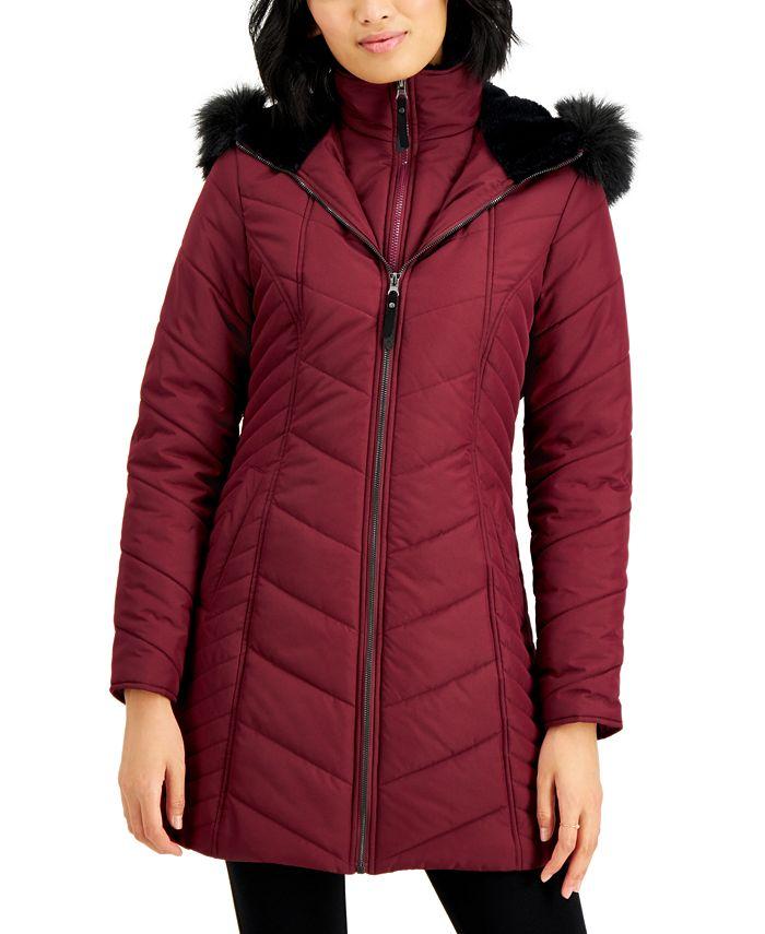 Maralyn & Me - Juniors' Hooded Faux-Fur-Trim Bib Puffer Coat
