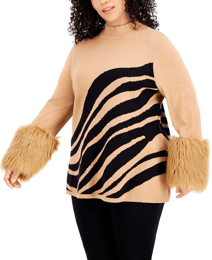 Alfani - Plus Size Printed Faux-Fur-Cuff Sweater
