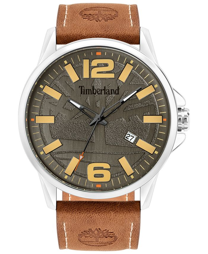 Timberland - Men's Brown Leather Strap Watch 45.5mm