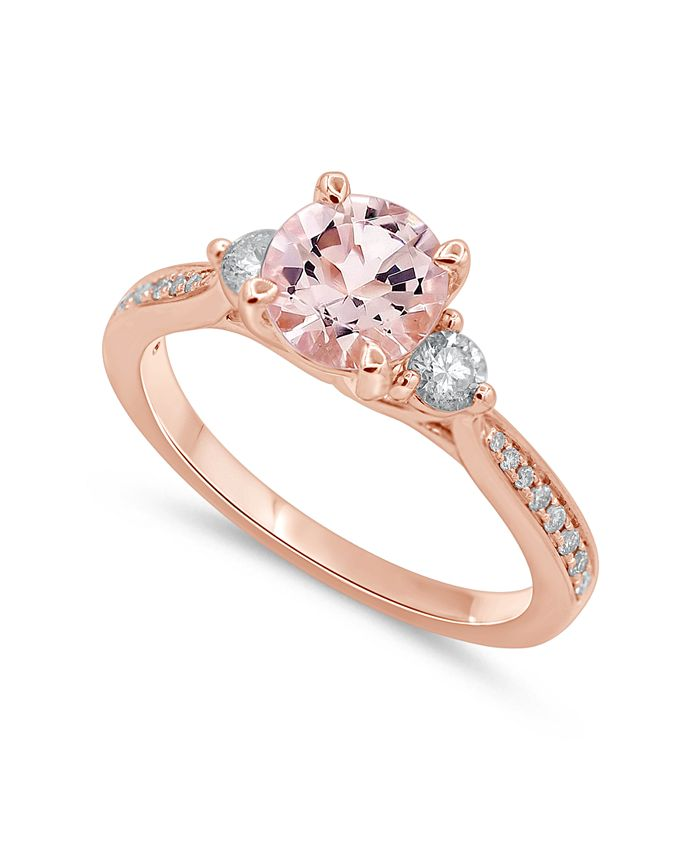 Macy's - Morganite (1 1/4 ct. t.w.) & Diamond (1/3 ct. t.w.) Engagement Ring in 14k Rose Gold