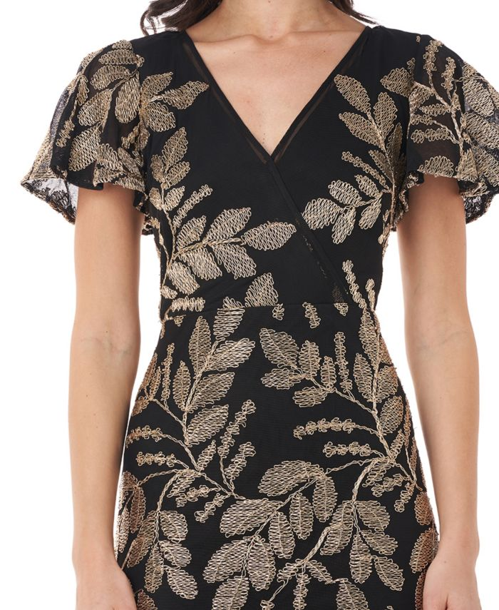 JS Collections Embroidered Flutter-Sleeve Sheath Dress & Reviews - Dresses - Women - Macy's