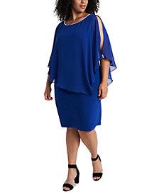 MSK Plus Size Embellished Chiffon-Overlay Dress
