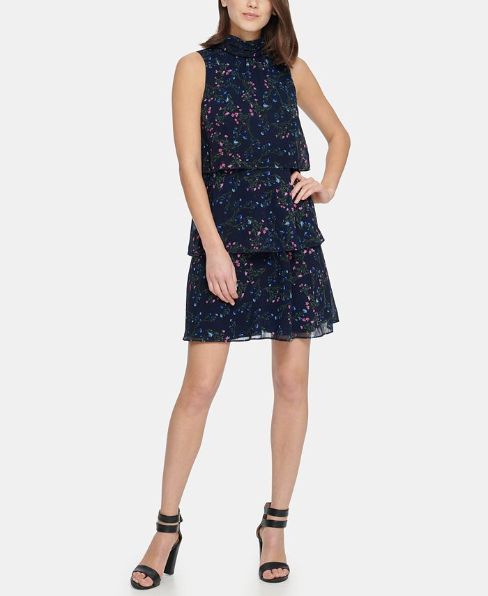 DKNY - S/L High Neck Shift with Tiered Skirt