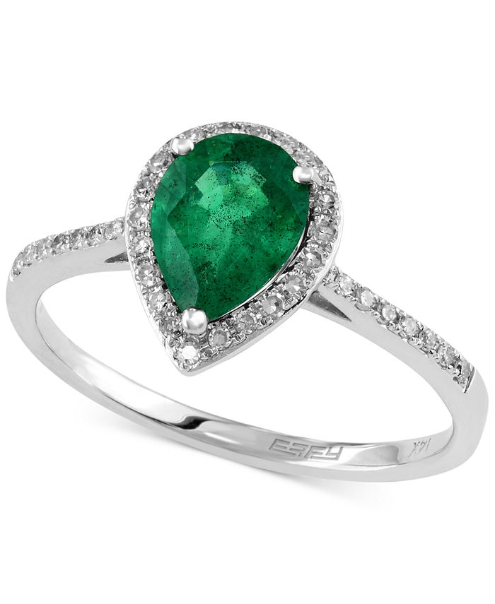 EFFY Collection - Emerald (9/10 ct. t.w.) and Diamond (1/6 ct. t.w.) Pear-Shaped Ring in 14k White Gold
