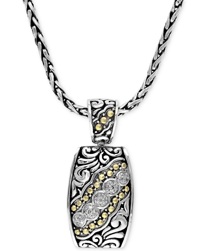 EFFY Collection - Diamond Etched Pendant (1/10 ct. t.w.) in Sterling Silver and 18k Gold