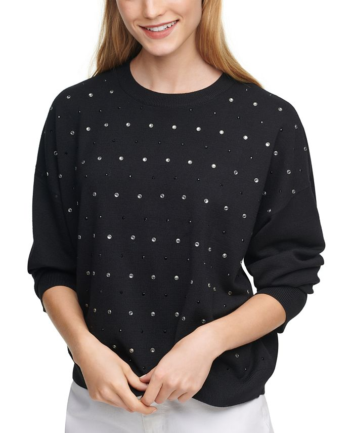 DKNY - Embellished Dropped-Shoulder Sweater