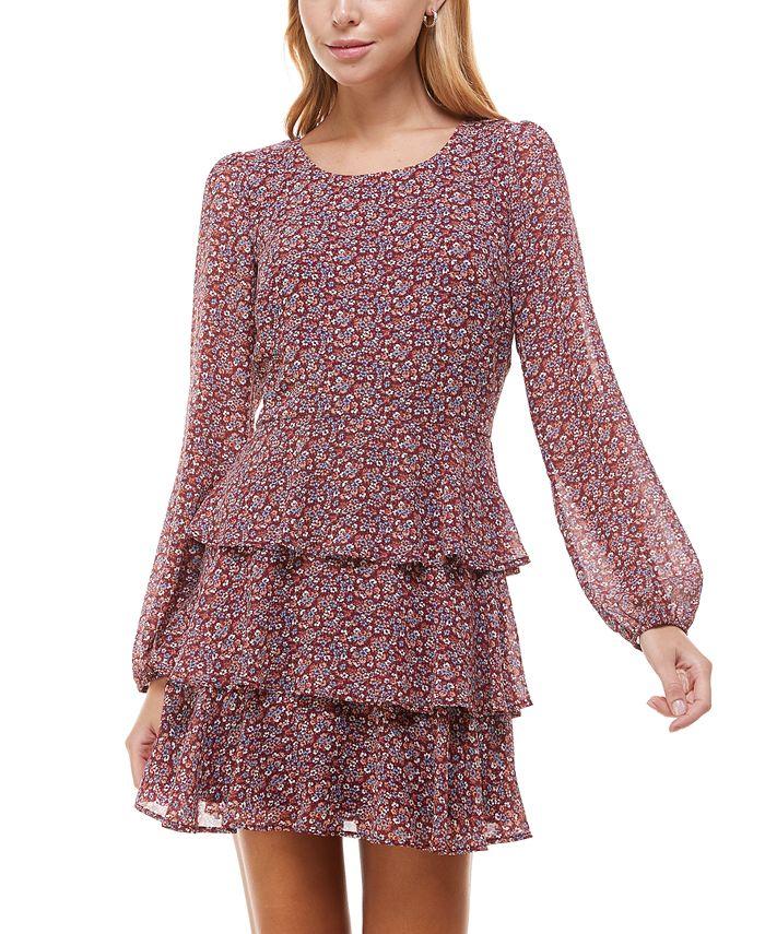 Trixxi - Juniors' Tiered Floral-Print Fit & Flare Dress