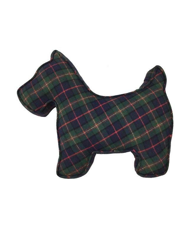 "Martha Stewart Collection Tartan Plaid 14"" x 18"" Scottie Dog Decorative Pillow, Created For Macy's"