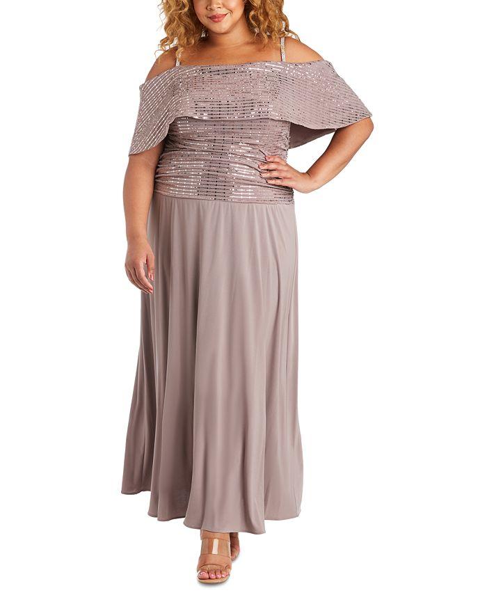 R & M Richards - Plus Size Embellished Gold-Shoulder Gown