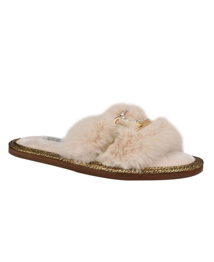 GUESS Women's Sannah Furry Sandal Slippers & Reviews - Sandals - Shoes - Macy's
