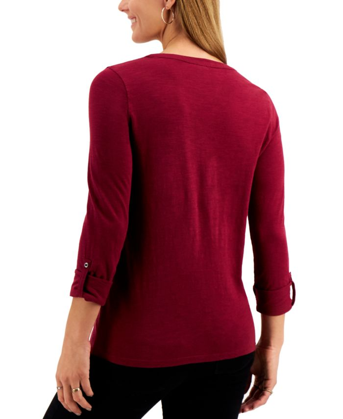 Style & Co Embroidered Roll-Tab Sleeve Henley Top, Created for Macy's & Reviews - Tops - Women - Macy's