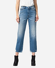 VERVET Women's Super High Rise Distressed Hem Crop Straight Jeans