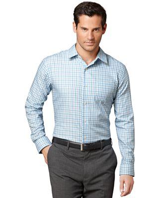 Van heusen shirt premium no iron long sleeve plaid shirt for No iron shirts mens