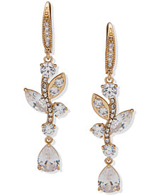 Anne Klein Gold-Tone Crystal Floral Linear Earrings