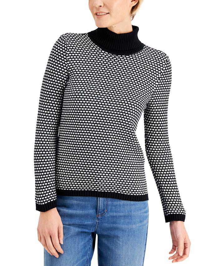 Karen Scott - Cotton Textured Turtleneck Sweater