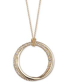 "Lauren Ralph Lauren Gold-Tone & Pavé Twist Hoop 36"" Long Pendant Necklace"
