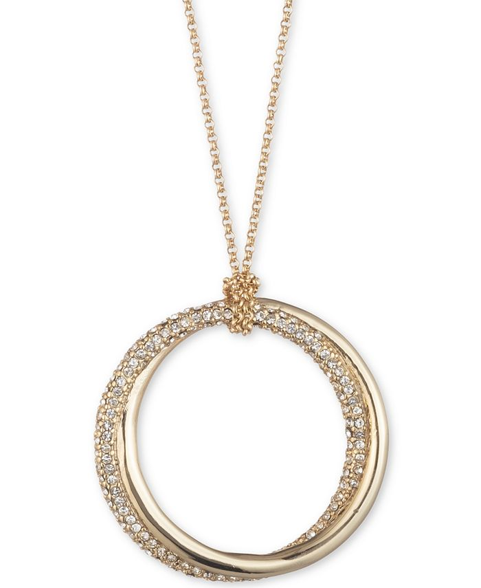 "Lauren Ralph Lauren - Gold-Tone & Pavé Twist Hoop 36"" Long Pendant Necklace"