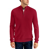 Deals on Club Room Mens Quarter-Zip Textured Cotton Sweater
