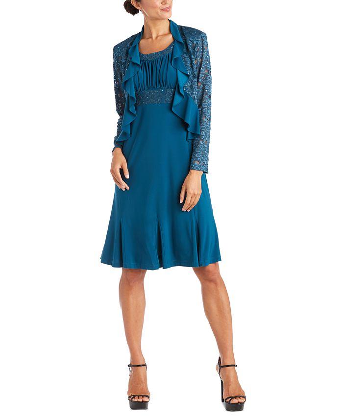 R & M Richards - Dress and Jacket, Sleeveless Sparkle Ruffle A-Line