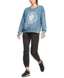 DKNY Sport Acid-Washed Logo Jersey Sweatshirt
