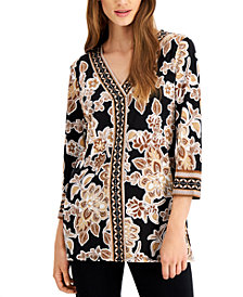 JM Collection Plus Size Printed Tunic, Created for Macy's