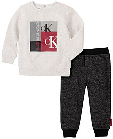 Calvin Klein Baby Boys Heather Fleece Pant Set