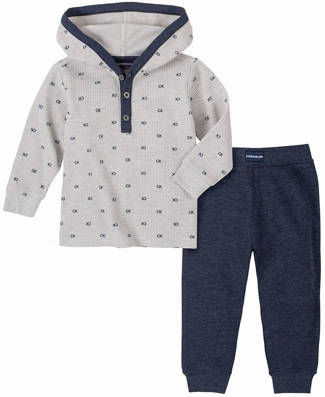 Calvin Klein Baby Boys Thermal Print Hooded Bodysuit Pant Set