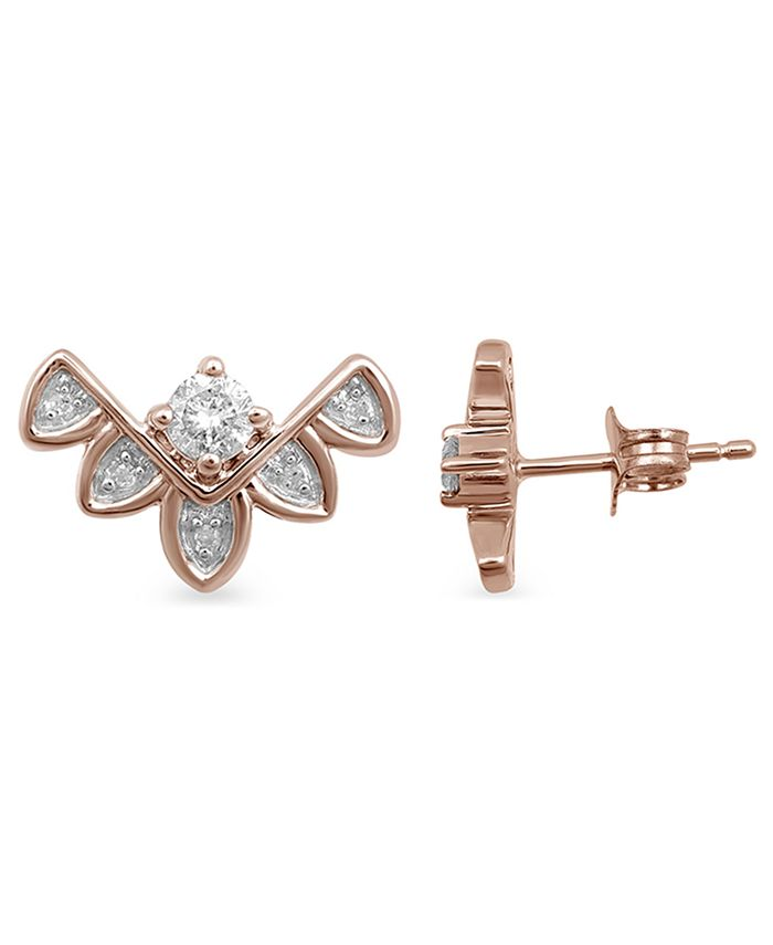 Macy S Diamond Chevron Inspired Stud Earrings 1 6 Ct T W In 10k Rose Gold Reviews Earrings Jewelry Watches Macy S