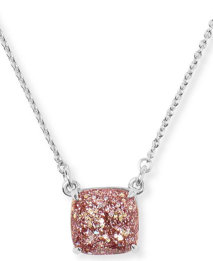 "kate spade new york - Glitter Crystal Square Mini Pendant Necklace, 17"" + 3"" extender"