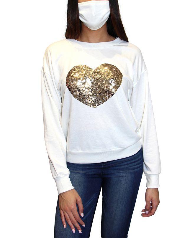 Crave Fame Crave Frame Juniors' Sequin Sweatshirt & Face Mask