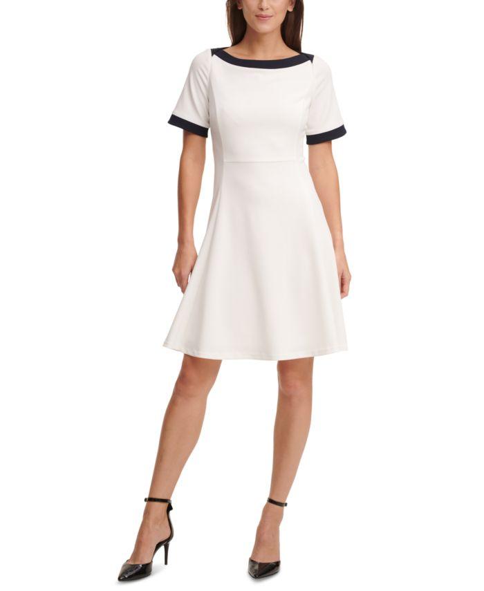 DKNY Contrast-Trim Dress & Reviews - Dresses - Women - Macy's