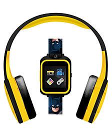Kid's Dc Comics Playzoom Batman Character Print Tpu Strap Smart Watch with Headphones Set 41mm