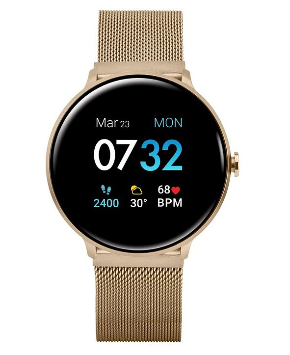 iTouch Women's Sport's Gold Tone Stainless Steel Mesh Strap Smart Watch 43.2mm